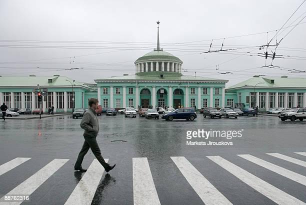 Pedestrian crossing in front of train station, Murmansk, Kola Peninsula, Russia