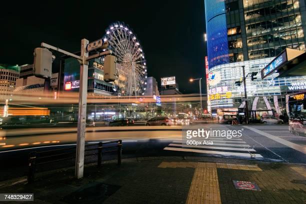Pedestrian crossing in urban city of Nagoya, Japan