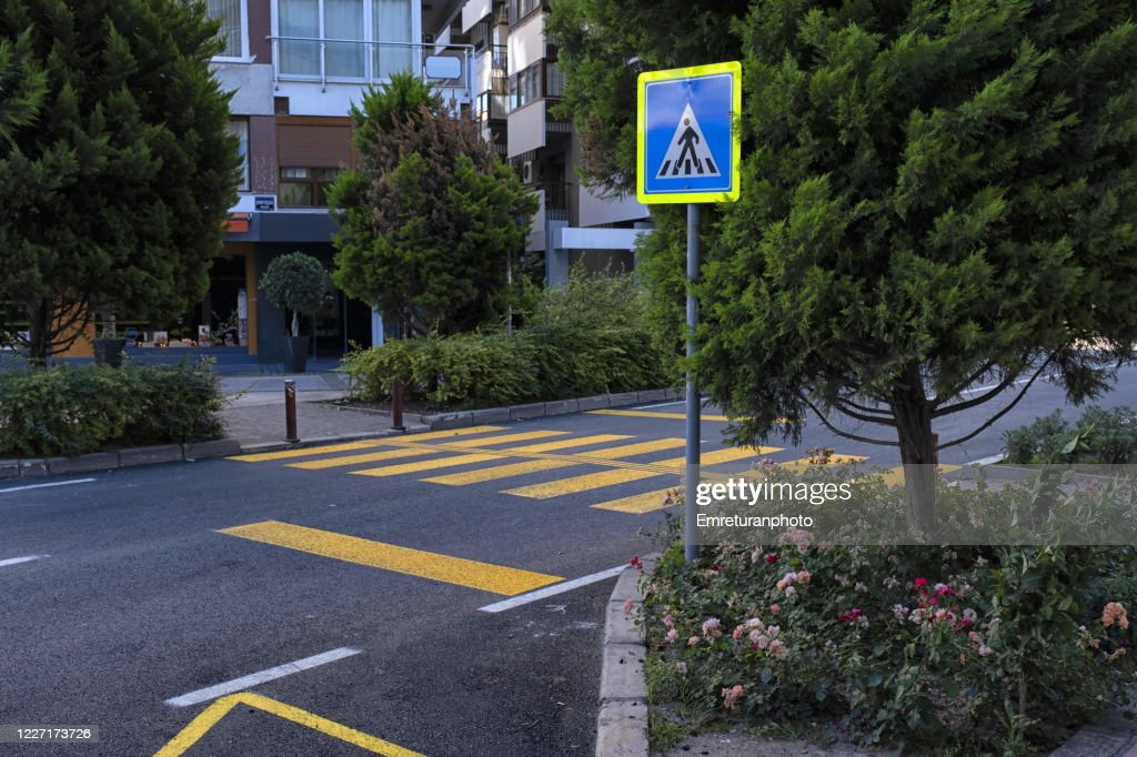 Pedestrian crossing on a new asphalt road,Izmir. : Stock Photo
