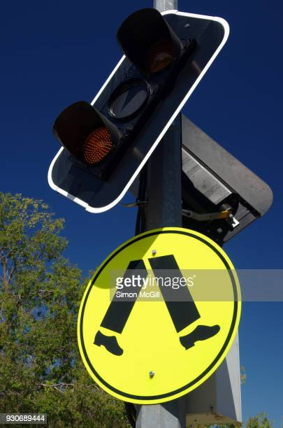 Pedestrian Crossing sign and warning lights
