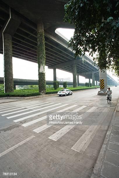 Pedestrian crossing under overpass