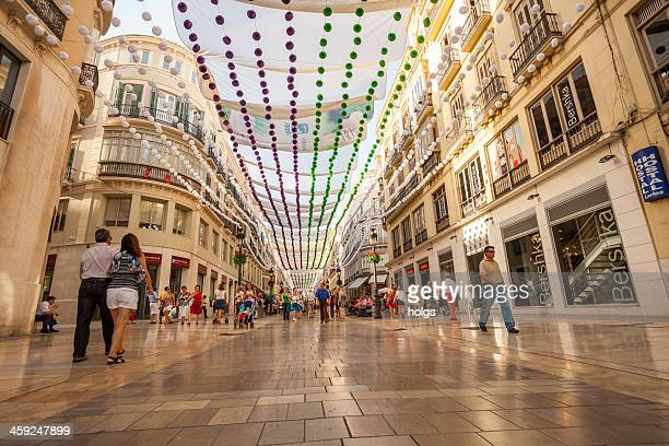 pedestrian district, malaga, spain - historic district stock pictures, royalty-free photos & images