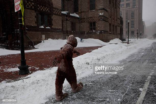A pedestrian dressed as 'bigfoot' makes their way through the strong wind and snow in the Back Bay neighborhood during a blizzard on January 27 2015...