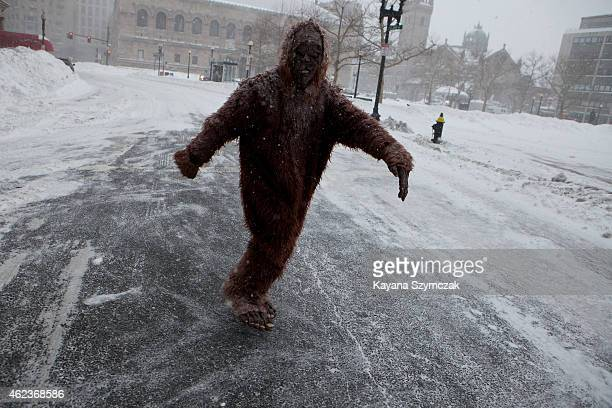 A pedestrian dressed as bigfoot makes their way through the strong wind and snow in the Back Bay neighborhood during a blizzard on January 27 2015 in...