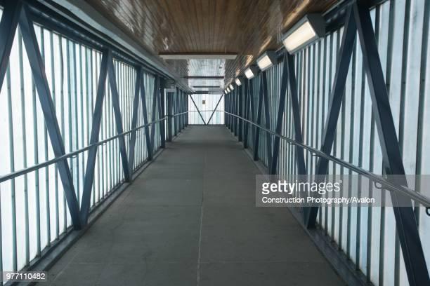 Pedestrian footbridge at St Albans City station Hertfordshire 3rd May 2007