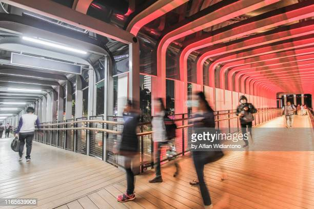 pedestrian footbridge - jakarta stock pictures, royalty-free photos & images