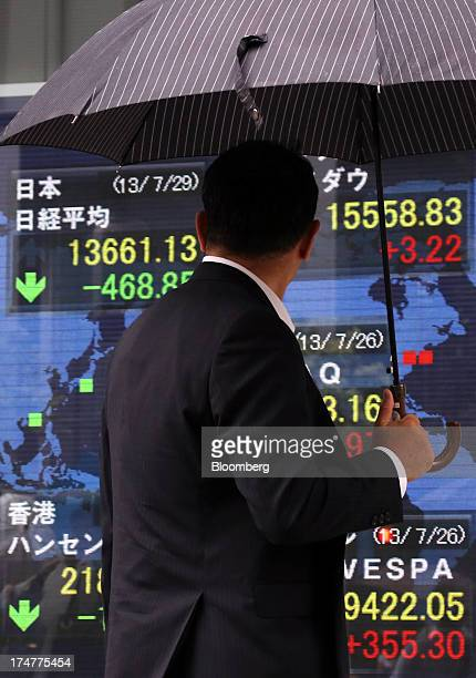 A pedestrian holding an umbrella looks at an electronic board displaying the closing figure of the Nikkei 225 Stock Average top left outside a...