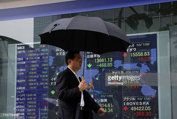 A pedestrian holding an umbrella walks past an electronic stock board displaying the closing figure of the Nikkei 225 Stock Average top center...
