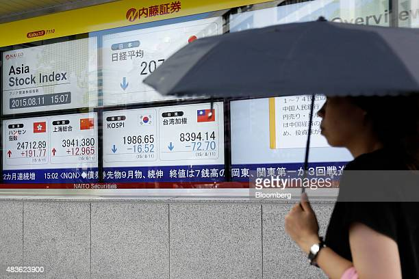 A pedestrian holding an umbrella walks past an electronic stock board displaying the closing figure of the Nikkei 225 Stock Average top row center...