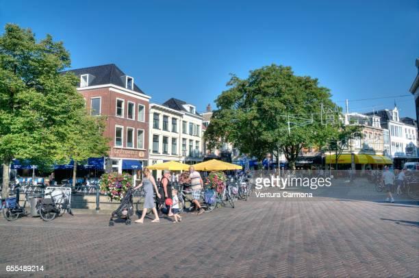 Pedestrian in the schopping center of the city Sneek - Friesland, Netherlands