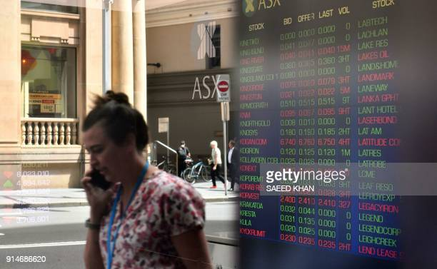 A pedestrian is reflected in a window of the Australian Securities Exchange as a screen shows stock prices in Sydney on February 6 2018 Australian...