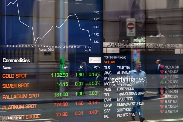 Pedestrian is reflected in a window of the Australian Securities Exchange in Sydney on September 5, 2018. - Australia's buoyant economy posted strong...