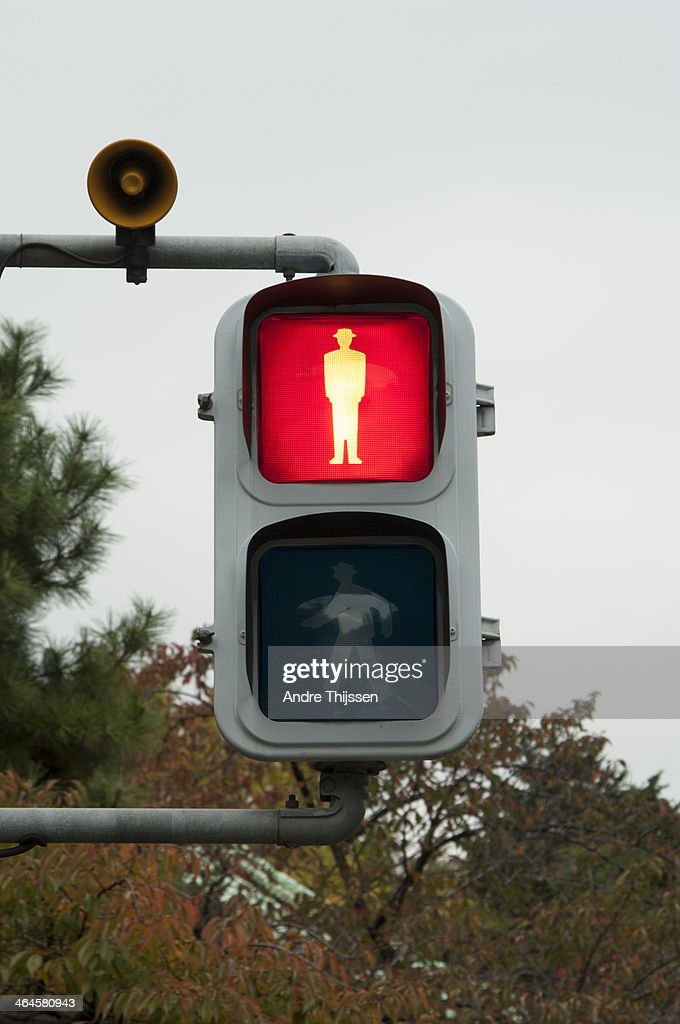 Pedestrian light on red : Stock Photo