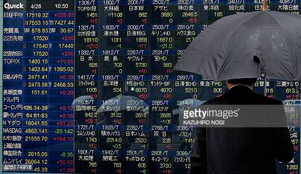 A pedestrian looks at a quotation board flashing the Nikkei key index from the Tokyo Stock Exchange in Tokyo on April 28 2016 Tokyo shares rallied in...