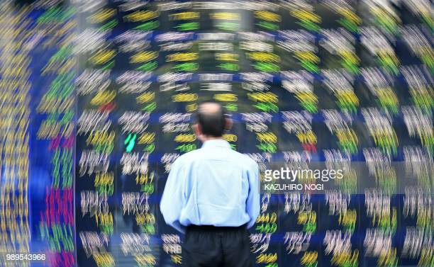 TOPSHOT A pedestrian looks at a stock indicator displaying numbers of the Tokyo Stock Exchange in Tokyo on July 2 2018 Tokyo stocks closed down over...
