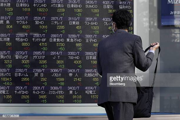 A pedestrian looks at an electronic stock board at a securities firm in Tokyo Japan on Monday Dec 5 2016 Japanese shares fell Monday morning as the...
