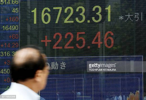 A pedestrian looks at the stock price indicator flashing the closing rate in Tokyo on July 19 2016 Tokyo's benchmark Nikkei 225 index surged 137...