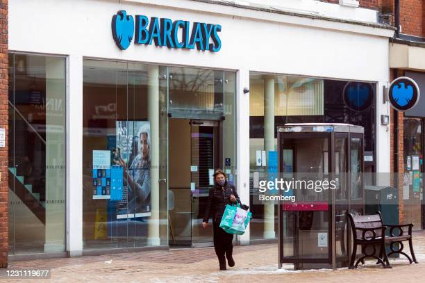 Pedestrian passes a Barclays Plc bank branch in Chelmsford, U.K., on Thursday, Feb. 11, 2021. The U.K. Economy grew at double the pace expected in...