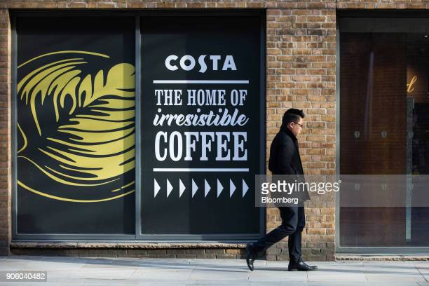 A pedestrian passes a Costa Coffee shop operated by Whitbread Plc in London UK on Wednesday Jan 17 2018 The hotel and restaurant group that owns...