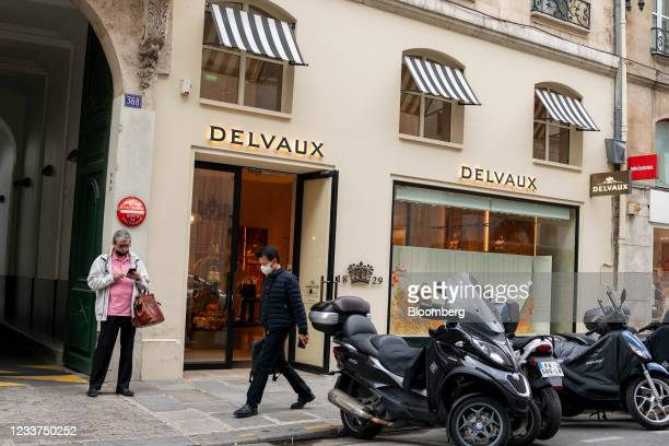 Pedestrian passes a Delvaux SA luxury handbag store in Paris, France, on Thursday, July 1, 2021. Richemonthas acquired Belgian leather-goods label...