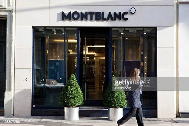 Pedestrian passes a Montblanc store in London, U.K., on Tuesday, Jan. 25, 2011. Montblanc Group, the German maker of the Meisterstueck fountain pen...