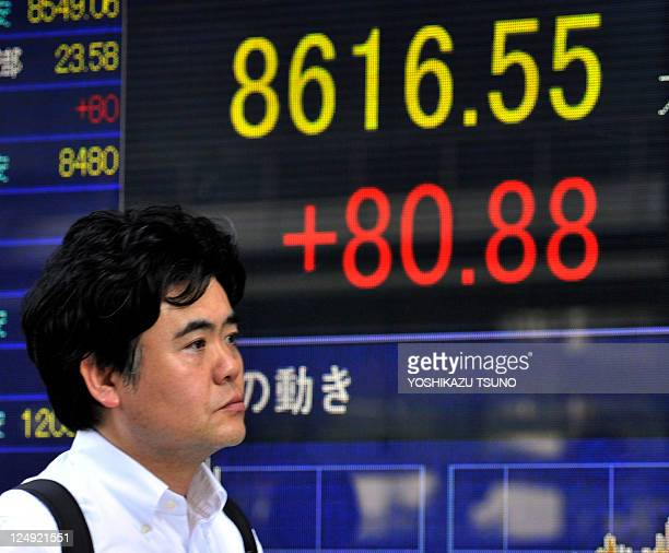 A pedestrian passes a share prices board in Tokyo on September 13 2011 Japan's stock prices rose 8088 points to close at 861655 at the Tokyo Stock...