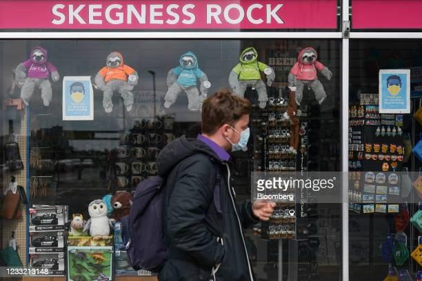 Pedestrian passes a souvenir shop on the seafront in Skegness, U.K., on Monday, May 31, 2021. U.K. Health Secretary Matt Hancock said people who want...
