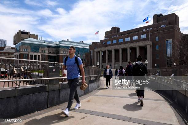 A pedestrian passes by on the University of Minnesota campus on April 9 2019 in Minneapolis Minnesota The week in Minnesota started with two sunny...