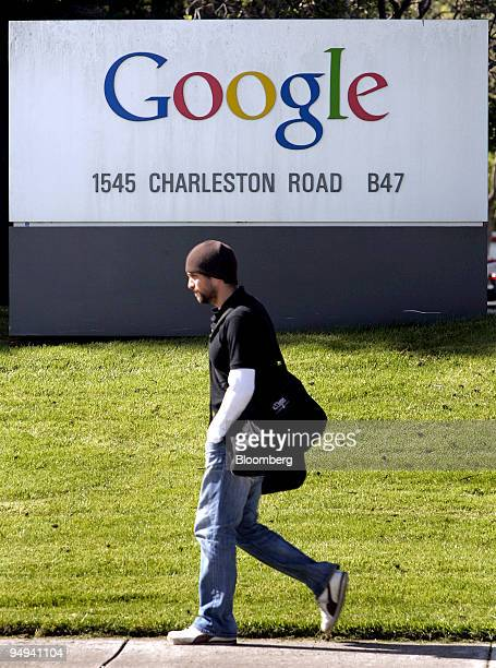 A pedestrian passes by the headquarters of Google Inc in Mountain View California US on Thursday April 16 2009 Google Inc owner of the world's most...