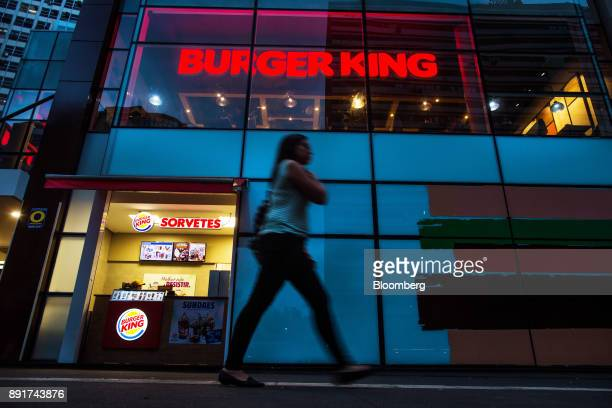 Pedestrian passes in front of a Burger King do Brasil restaurant on Paulista Avenue in Sao Paulo, Brazil, on Monday, Dec. 11, 2017. Burger King do...