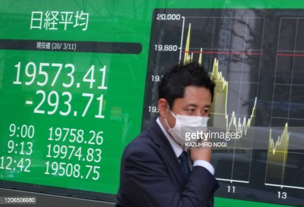 TOPSHOT A pedestrian passes in front of a quotation board displaying the share price numbers of the Tokyo Stock Exchange in Tokyo on March 11 2020...