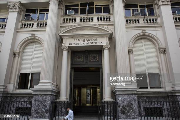 A pedestrian passes in front of the Central Bank of Argentina in Buenos Aires Argentina on Wednesday Feb 1 2017 The city of Buenos Aires released...