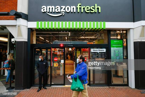 Pedestrian passes the Amazon.com Inc. Amazon Fresh cashierless convenience store in the Ealing area of London, U.K., on Thursday, March 4, 2021. The...
