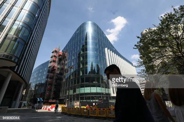 A pedestrian passes the new European headquarters of Goldman Sachs Group Inc in London UK on Friday April 20 2018 Foreign investors are less worried...