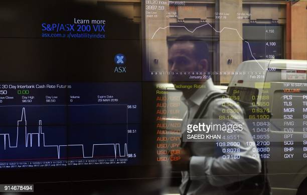 A pedestrian reflected in a window of the Australian Securities Exchange looks at a screen showing financial data in Sydney on February 6 2018...