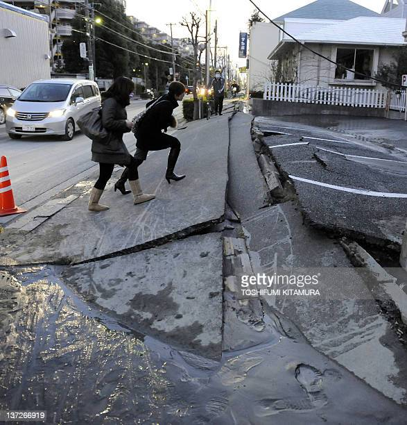 A pedestrian road has collapsed in the massive 89magnitude earthquake in Urayasu city Chiba prefecture on March 11 2011 The earthquake shook Japan...