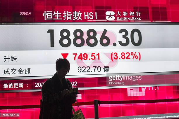 A pedestrian stands in front of an electronic screen displaying the closing figure of the Hang Seng Index in Hong Kong China on Wednesday Jan 20 2016...