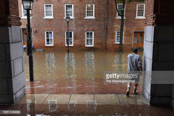 Pedestrian stands on a sidewalk along North Union Street after morning tidal flooding on Monday September 10, 2018 in Alexandria, VA.