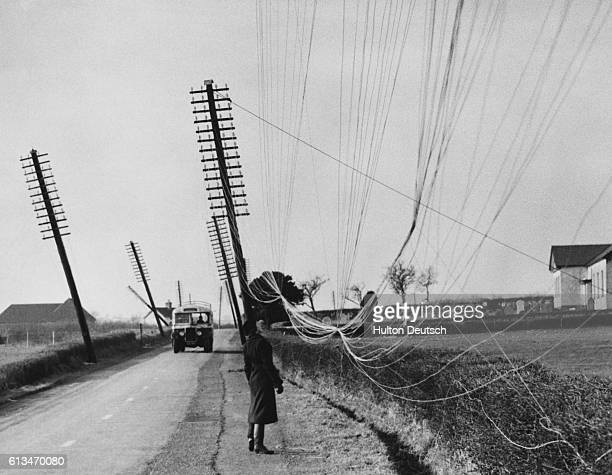 A pedestrian stops to stare at the tangle of phone lines nearly touching the ground the result of heavy snows pulling the wires and poles down