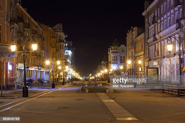 Pedestrian street at night in Samara