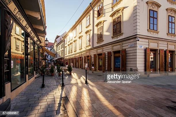 Pedestrian street in Bratislava old town, Slovakia