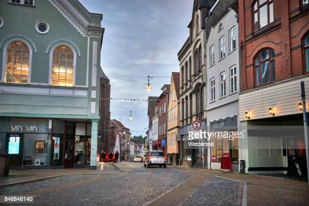pedestrian street in haderslev - denmark - jutland stock photos and pictures