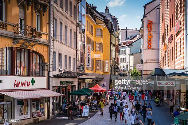 pedestrian street in the old town - lausanne stock pictures, royalty-free photos & images