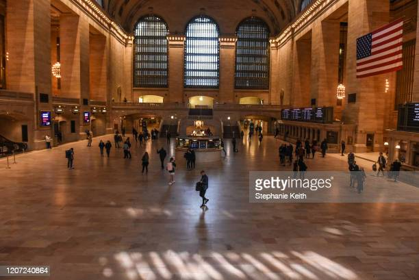 Pedestrian traffic is light through Grand Central Terminal on March 15, 2020 in New York City. The World Health Organization declared COVID-19 a...