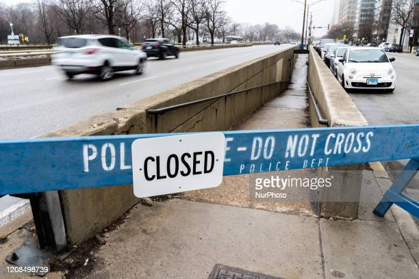 A pedestrian underpass to the Chicago lakefront is seen barricaded off in Chicago on March 28 2020 On Thursday Chicago Mayor Lori Lightfoot closed...