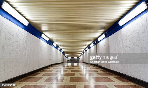 pedestrian underpass with brown tiles - christian beirle gonzález stock-fotos und bilder
