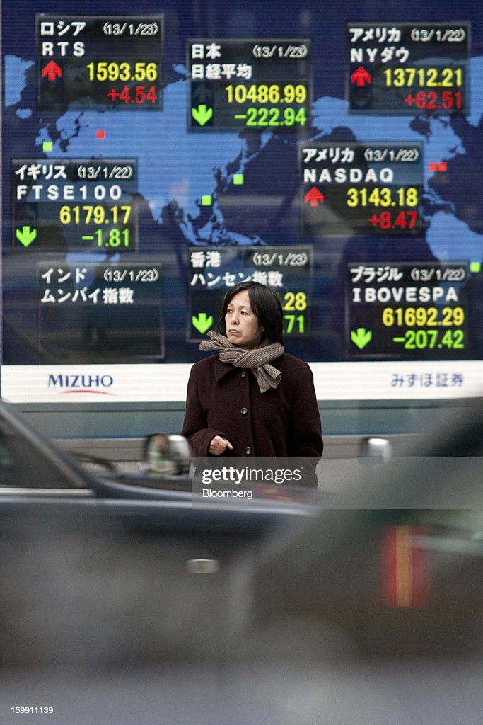 A pedestrian waits to cross a road in front of an electronic stock board outside a securities firm in Tokyo, Japan, on Wednesday, Jan. 23, 2013. Japan shares declined, with the Nikkei 225 Stock Average posting its first three-day decline since elections were called, as the yen climbed after the Bank of Japan said it will wait a year to add open-ended stimulus. Photographer: Tomohiro Ohsumi/Bloomberg via Getty Images