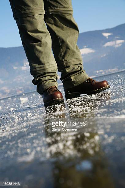 Pedestrian walker on a frozen lake
