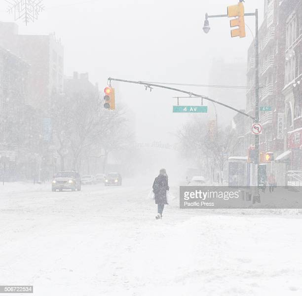 Pedestrian walking through whiteout conditions on Flatbush Avenue New York City's first blizzard of 2016 hit the five boroughs with enough force to...