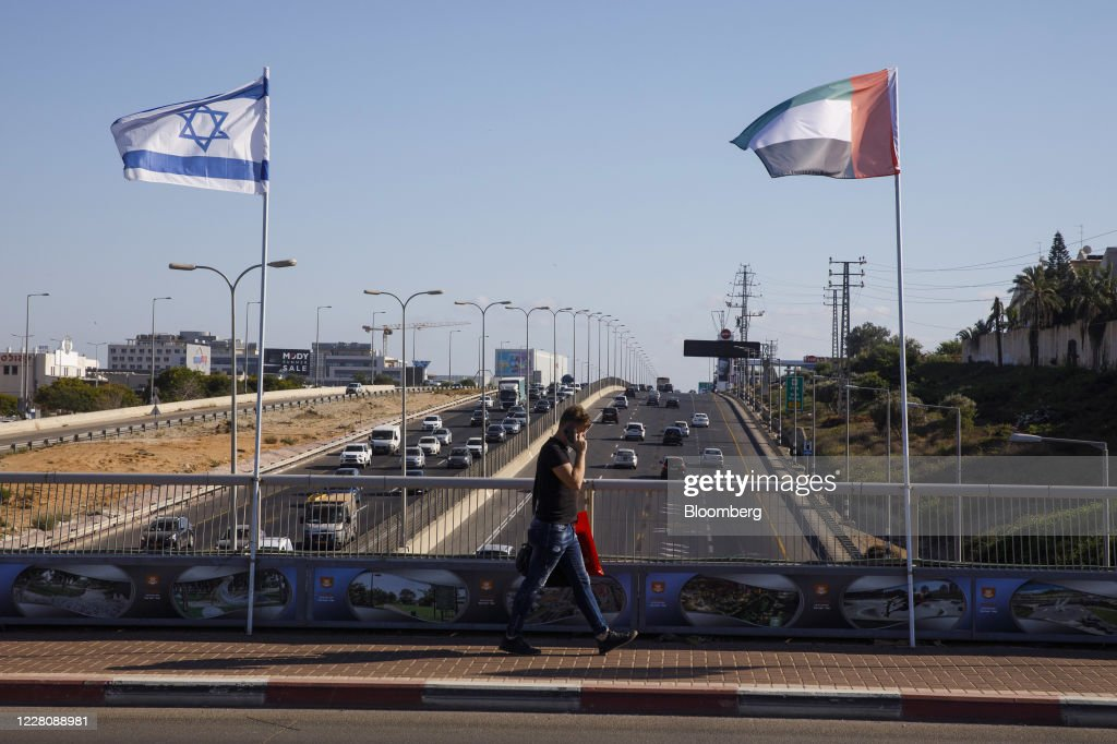 Israeli And U.A.E. Flags Side by Side as Peace Moves Intensify : News Photo